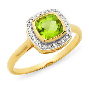 Peridot & diamond halo ring