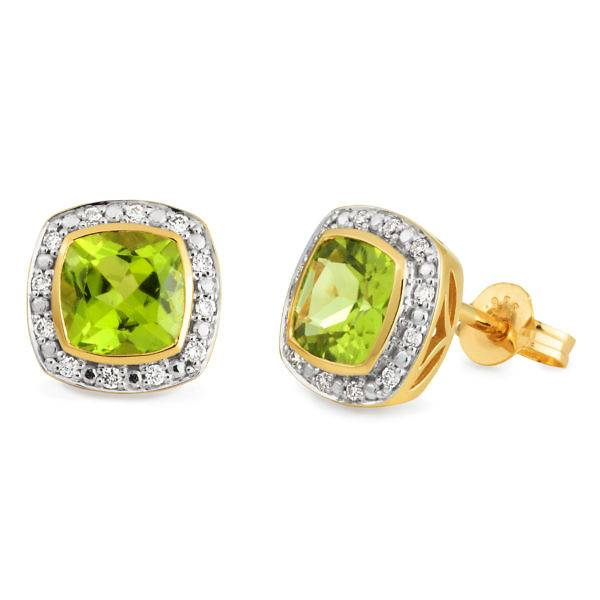 Peridot & diamond halo stud earrings