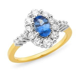 ceylon sapphire & diamond dress ring
