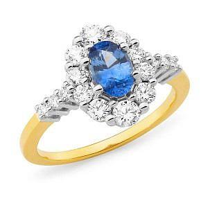 ceylon sapphire & diamond dress ring