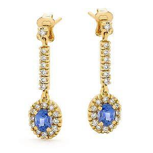 ceylon & sapphire drop earrings