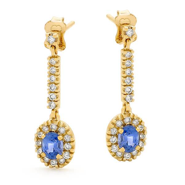 ceylon & sapphire drop earrings