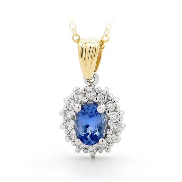 ceylon sapphire & diamond pendant