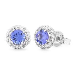 round tanzanite & diamond earrings