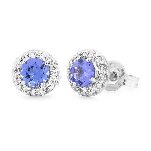 round tanzanite & diamond earrings