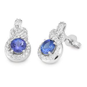 round tanzanite earrings