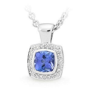 square tanzanite halo pendant