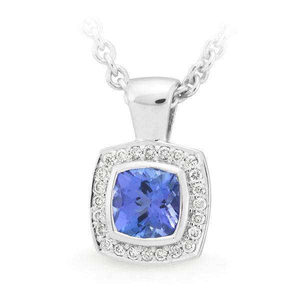 square tanzanite halo pendant