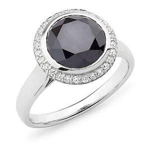 black round diamond halo ring