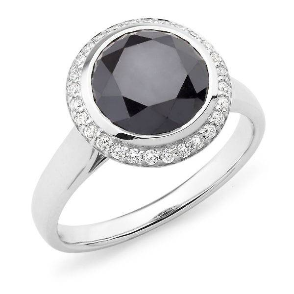 black round diamond halo ring