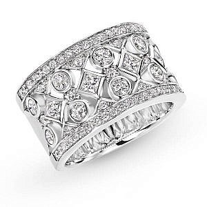 Brilliant & princess cut dress ring
