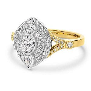 Oval, pear & brilliant cut diamond dress ring