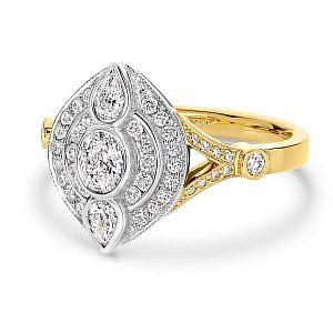 Oval, pear & brilliant cut diamond dress ring
