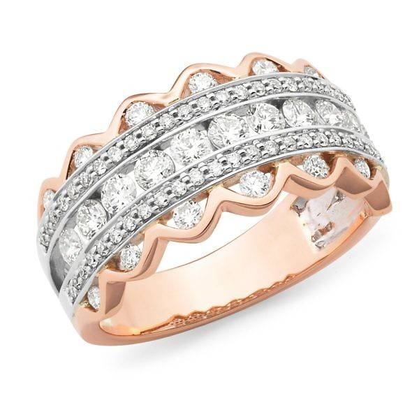 Brilliant cut diamond 5 row ring