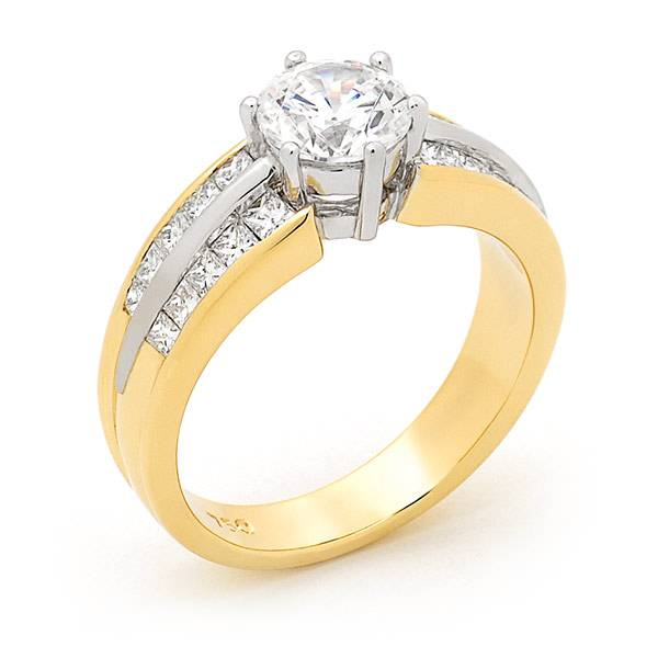 Round diamond with channel set diamonds engagement ring