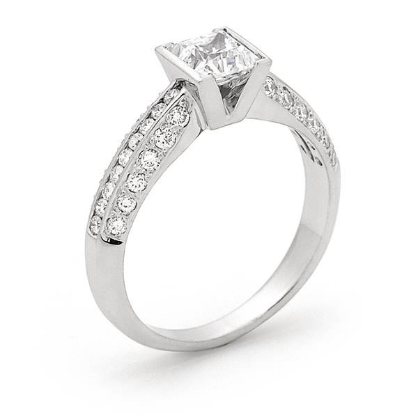 princess cut diamond with pave shoulder diamonds engagement ring