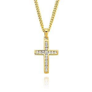 Yellow gold diamond channel set cross