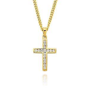 Yellow gold diamond channel set cross