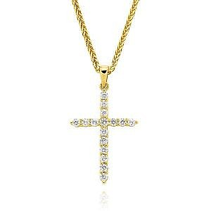 Yellow gold diamond claw set cross
