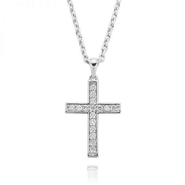 White gold diamond bead set cross