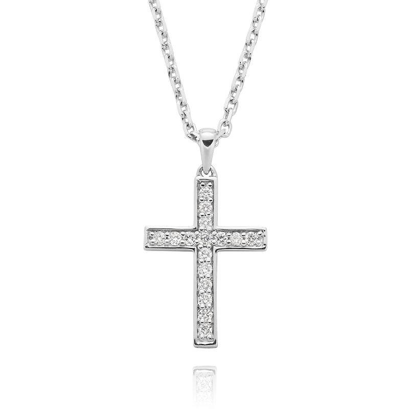 White gold diamond bead set cross