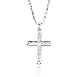 White gold diamond channel set cross