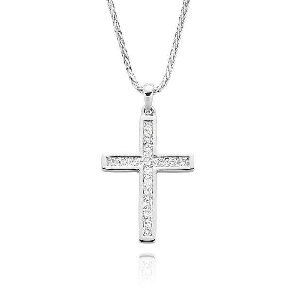 White gold diamond channel set cross