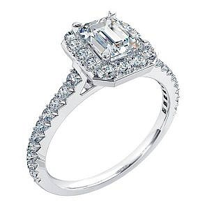 Mazzone emerald cut diamond halo ring