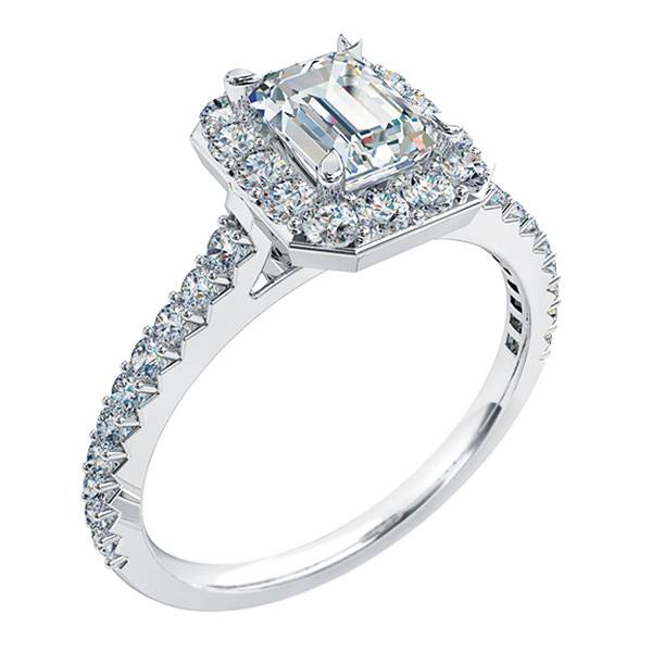 Mazzone emerald cut diamond halo ring