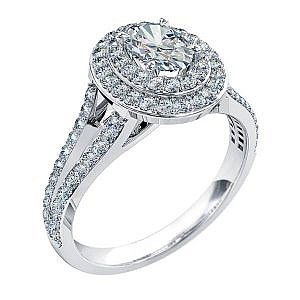 Mazzone oval diamond double halo ring