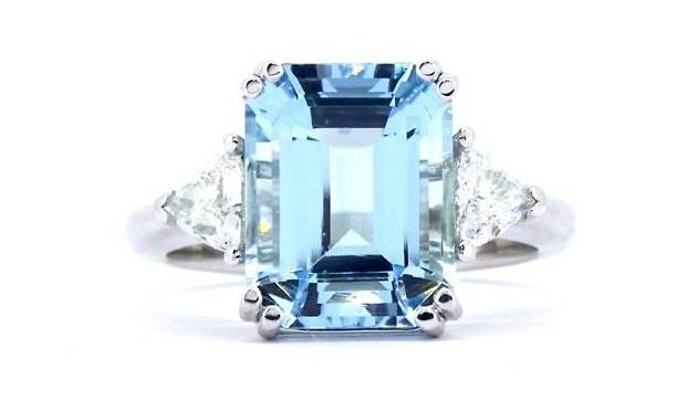 Andrew Mazzone aquamarine & diamond ring