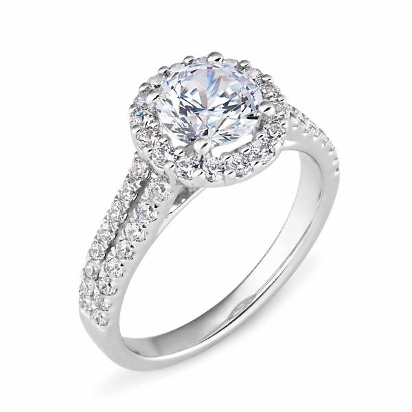Round diamond halo split band ring
