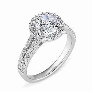 Round diamond halo split band ring
