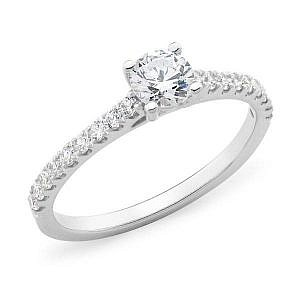 Solitaire 4 claw with bead shoulder set ring