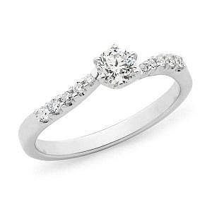 Diamond claw set shoulder stone engagement ring