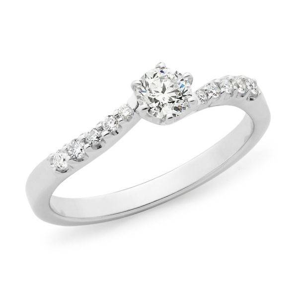 Diamond claw set shoulder stone engagement ring
