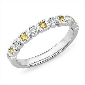Mazzone yellow sapphire & diamond wedding ring