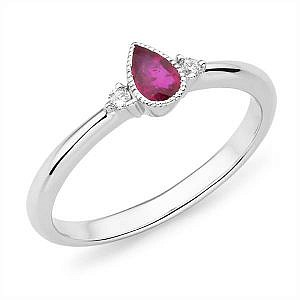 Mazzone pear cut ruby & diamond ring