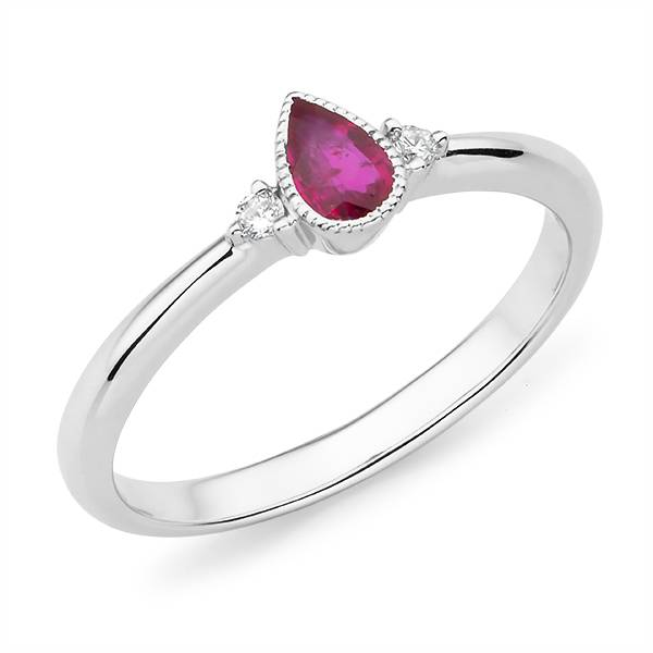 Mazzone pear cut ruby & diamond ring