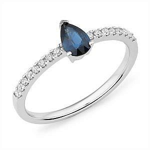 Mazzone pear sapphire & diamond ring
