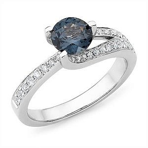 Mazzone blue spinel & diamond twist band ring