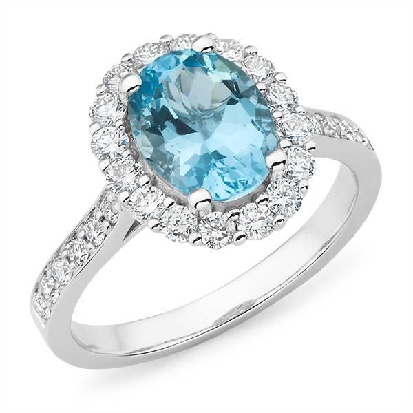 Mazzone oval cut aqamarine & diamond halo ring