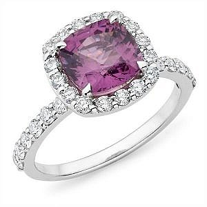 Mazzone cushion cut gem & diamond halo ring