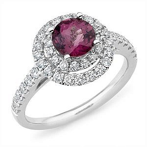 Mazzone spinel & double diamond halo ring