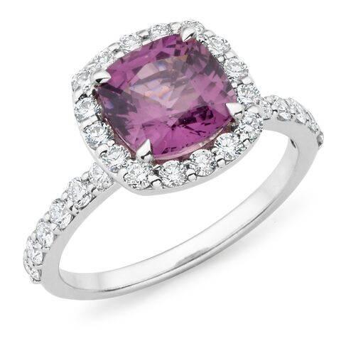 JewelleryCushion cut spinel & diamond halo ring