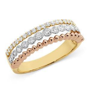 Mazzone three tone gold Diamond set split triple band ring